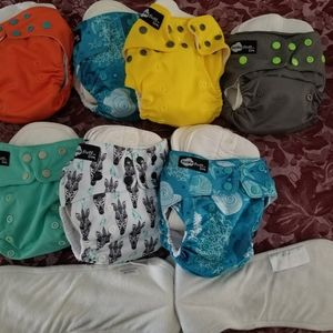 7 pocket cloth diaper and snap together  inserts